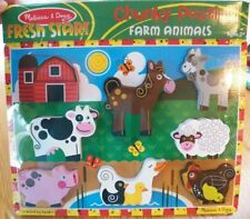 Melissa & Doug Wood Wooden CHUNKY FARM ANIMALS PUZZLE~New Sealed~Stand-Up Pieces
