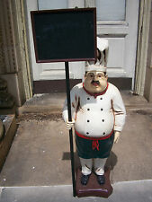 STANDING CHEF W/ Glasses HOLDING SIGN fiberglass UNIQUE 4+ ft!!