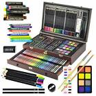 Sunnyglade 145 Piece Deluxe Art Set, Wooden Art Box & Drawing Kit with Crayons,