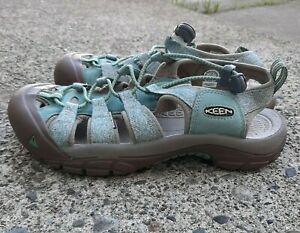 KEEN Womens NEWPORT H2 Blue Green Waterproof Hiking Shoes Sandals Size 7.5