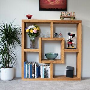 Solid Wood Rustic Free Standing Storage Display Cube