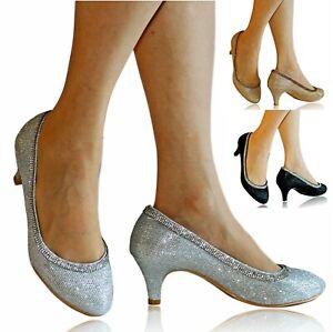 Womens Ladies Diamante Low Kitten Heel Evening Party Court Shoes Pumps Size-6668