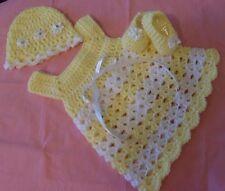 SALE  Handmade Crochet Set,Shoes Dress, Hat, Yellow 0-3 Rocky Mountain Marty.