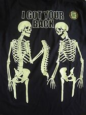 NEW Large Skeleton I Got Your Back All Year & Halloween Glow in the Dark T-Shirt