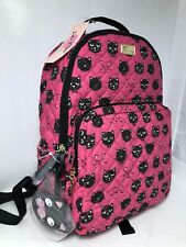 Genuine Betsey Johnson Luv Fuchsia Backpack With Black Cats