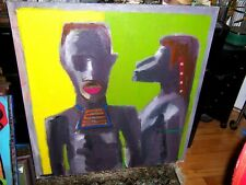 "original   painting""   african  couple ""  modern abstract"