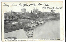 Scene On Monongahela River, Pittsburgh, PA, NY Duplex PMK, Stern Paddle Steamers