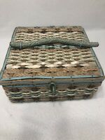 Vintage Woven SEWING BOX Basket Aqua Tan Brown