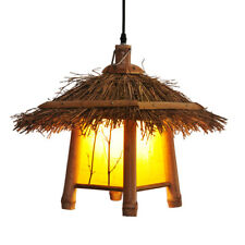 Loft Countryside Bamboo Pendant Lamp Suspension Rattan Hanging Light Chandelier