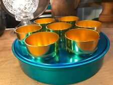 Retro Vintage 1950's Australian 'Metro' Anodised Picnic Beakers in Tray