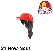 Lego - 1x Minifig casque helmet chantier ponytail femme rouge/red 16178pb01 NEUF