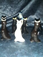 8 lot VINTAGE PIE BIRD VENTS KNOBLER JAPAN BLACK & UNMARKED WHITE 1 salt glaze