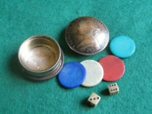 Victoria Real Half Penny POCKET GAMES POT with CONTENTS Trench Art MINIATURE