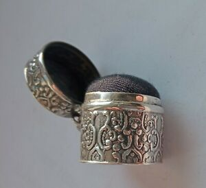 ANTIQUE SOLID SILVER CHATELAINE PIN CUSHION SILVER HALLMARKED.