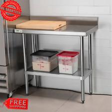 "Stainless Steel Work Prep Table 18"" x 36"" Commercial Restaurant with Backsplash"