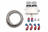 Aluminium 1.2L Engine Oil Catch Can Breather Tank Baffled AN10 & Hose Kit Silver