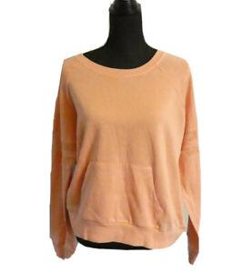 Hippie Rose Orange Juniors Size S Mesh Trimmed Kangaroo Pocket Sweatshirt