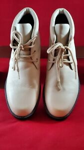 Laura Scott Women's Lace Up Leather Ankle Boots Ivory Size 8.5M