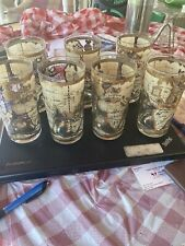 Vintage 60s Cera  Old World Maps Highball Tumblers Glasses Set Of 7