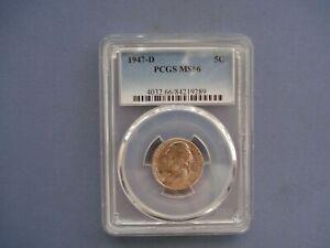 1947 D USA - 5 Cents - Jefferson Nickel 1st portrait- Copper-Nickel - 9289