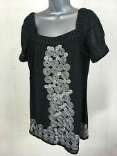 Women's Monsoon Black Silver Swirl Short Sleeve Smock Top Size Uk 12