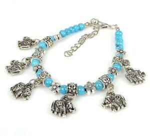 Jewelry Bracelet Tibetan Silver Elephant Ladies Blue Turquoise Stone Bangle