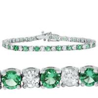 3ct Emerald & Diamond Genuine Tennis Bracelet 14K White Gold