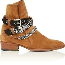 Men Suede Leather Pointy Toe Chain Buckle Cowboy Ankle Chelsea Boot Motor Shoes
