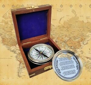 Chrome Finish Brass Nautical Poem Compass With Wood Box Collectible Gift