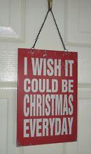 Metal Shabby Chic Christmas Xmas Door Hanging Sign / Plaque 16cm x 14cm