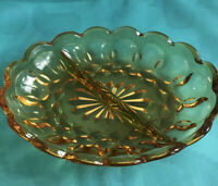 Vintage Amber Thumbprint Indiana Glass Scalloped Divided Dish Relish Tray Plate