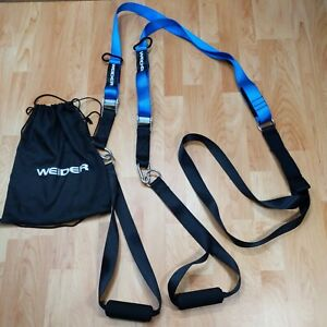 Weider Suspended Body Weight Trainer Exercise Nylon Strap Suspension Blue Black