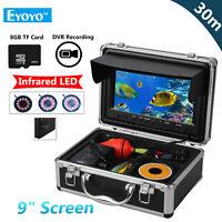 EYOYO 8GB 30m IR 9inch LCD 1000TVL 12pcs LED Fish Finder Camera IP68 IR Sunvisor