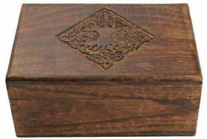 "8"" Wooden Jewellery Trinket Box Keepsake Storage Case with Hand Carved Celtic"