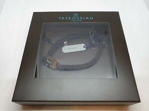 Tateossian Bracelet Capricorn ID Square Macrame Adjustable Black Brown RRP £120