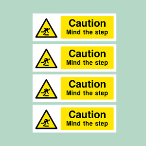 4x Caution Mind The Step - Plastic Sign / Stickers - All Sizes - (WG11)