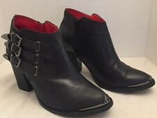 Vintage by Jeffrey Campbell Westin Ankle Black Leather Boots Size 11