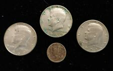 LOT OF 4 SILVER US COINS - MERCURY DIME & 3 - 1969 / 1972 KENNEDY HALF DOLLARS