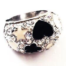 USA RING Rhinestone Crystal Fashion Gemstone Silver Black White SIZE-8 02