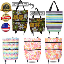 Folding Luggage Rolling Trolley Utility Shopping Cart Basket Bag Tote Wheels USA