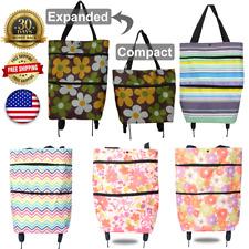 Folding Luggage Rolling Trolley Utility Shopping Cart Basket Bag Tote Wheels USA