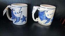 Set of 2 Blue Sky Heather Goldminc Coffee Mugs Blue White Fish Magic Sea Diane