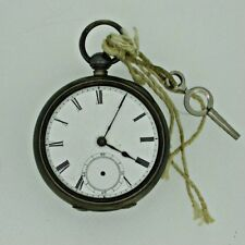 Antique 1880 Waltham Broadway 18s 7j Silver Pocket Watch Parts As Is