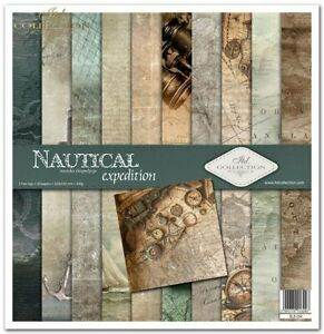 """11.8"""" x 12.1"""" scrapbooking cardstock paperpad Nautical Expedition 11 sheets"""