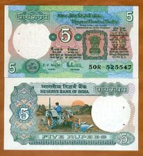 India,  5 Rupees, (1975), P-80p, Letter A, sig. 83, UNC > W/H, Plowing Tractor