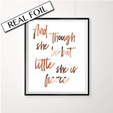 And though she be but little she is fierce / Copper Shakespeare quote print Art