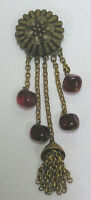 Vtg Jewelry Brooch 1940s Brass w Red Glass Bead Dangles Chains