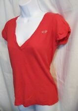 Hollister Red V Neck, Cap Sleeve Shirt Top Size S