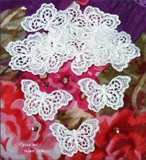 5 White Butterfly Venise Guipure Lace Applique Bridal Baby Card Reborn Doll Trim