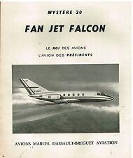 Publicité Advertising 1977 Avions Mystère 20 Fan Jet Falcon Marcel dassault